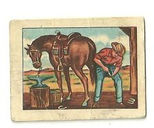 1951 Post Cereal Western Cowboy Hopalong Cassidy Trade Card No. # 24 Horse Shoes