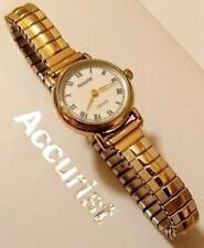 "Vintage Ladies 1990 Hm'd 9ct Gold Accurist ""Gold"" Quartz Watch, Boxed & Working."