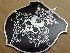 Stainless Steel Skull Shield Retro Badge Emblem Decal Sticker Harley Davidson