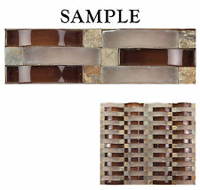 *Sample Brown 3D Wave Polished Frosted Glass Honed Marble Cubes Mosaic