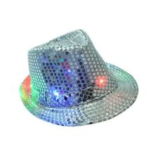 Flashing Light Up Led Fedora Trilby Sequin Unisex Fancy Dress Dance Party Hats^