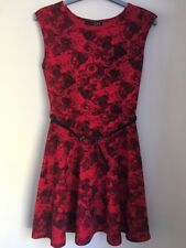 Ladies Red & Black Floral Mini Skater Dress Size 10 By Primark Worn Twice