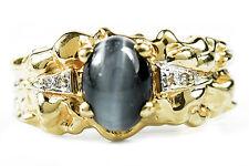 Women's VTG 1980's Black Tiger Eye Sapphire & Diamond 1 ct Nugget 14k Gold Ring