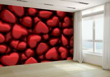 3D Of Many Dark Red Glossy Hearts Wallpaper Mural Photo 60264641 premium paper
