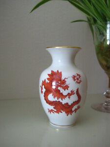 Vase Meißner Handmalerei roter Drache Mingdrache Goldrand, seltene Form, 11cm