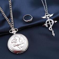 HOT Fullmetal Alchemist Snake Silver Pocket Watch Ring Necklace Cosplay Set - LD
