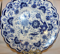 Antique Early 1900's Large DELFTS HOLLAND Blue & White Hand PaintedServing Bowl