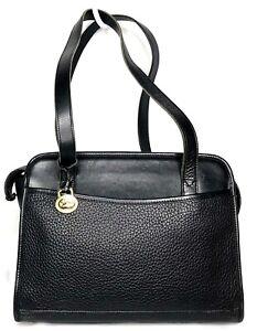 Vtg Classic Dooney & Bourke Black All Weather Leather Shoulder Bag Satchel Purse
