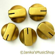 5 gold potentiometer switch knobs guitar  amplifier etc stove pot knob + screw