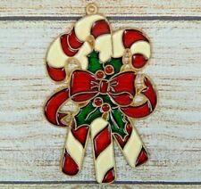 Vintage Suncatcher Candy Canes & Holly Window Decoration Christmas  Ornament