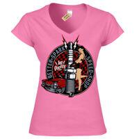 Better spark T-Shirt rockabilly hotrod speed shop pin up Womens Ladies V-Neck