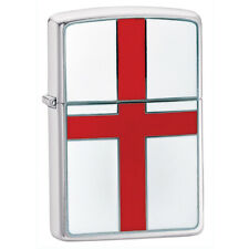 More details for zippo classic english flag brushed chrome lighter refillable lifetime guarantee