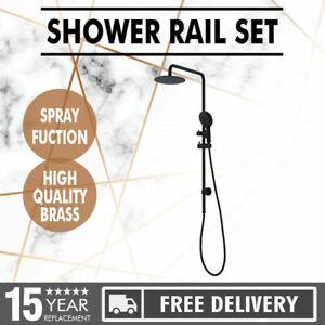 Shower Station Set Matt Black Sliding Overhead Rain Hand Head Rail