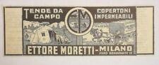 Pubblicità 1942 TENDE DA CAMPO MORETTI old advertising publicitè reklame werbung