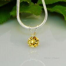 Golden Citrine Sterling Silver Pendant  w/ Snake Chain Necklace