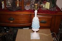 Vintage Italian Table Lamp Blue Flowers Marble Base-#2