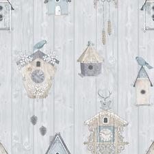BIRDHOUSE BLUE BIRDS BIRDHOUSE QUALITY FEATURE DESIGNER WALLPAPER 229004 RASCH