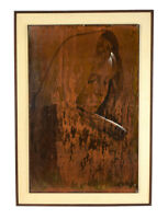 1964 Mid-Century Mexican Copper Painting Contemplative Woman Jose Chavez Huacuja