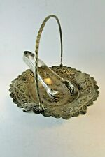 ANTIQUE 84 STERLING SILVER PERSIAN MIDDLE EAST ISFAHAN SUGAR TONGS & DISH 160g