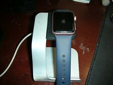 Apple Watch Series 1 38mm Pink Aluminum Case Blue Sport Band Used w/ Charger