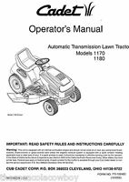 Cub Cadet 1170 1180 Automatic Transmission Tractor Operators and Parts Manual