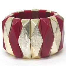 Textured & Facet Acrylic Red Yellow Gold Plated Fashion Stretch Bracelet