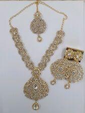 Wedding Rajwadi Diamond Jewelry Set Indian Traditional Fashion Long Gold Plated