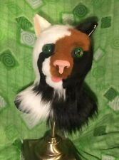 Tri-colored Feline Fursuit Head,  Zipper, Moving Ears And Jaw, Artisan Made