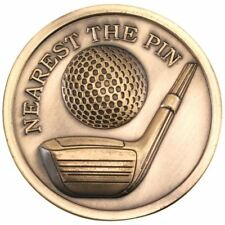 GOLF MEDALLION - ANTIQUE GOLD NEAREST THE PIN 2.75in PACK OF TEN
