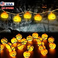 Halloween 20 LED Pumpkin String Lights Lantern Lamp Home Party Decors Supplies