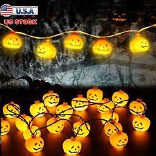 Halloween 10 Led Pumpkin String Lights Lantern Lamp Home Party Christmas Decors