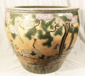 """Chinese Macao Pottery Planter w Cranes & Goldfish Intricate Design 18.5"""" XL"""