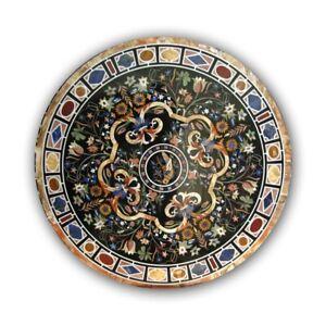 Black Marble Dining Table Top Mosaic Pietra Dura Inlay Arts Hallway Decors B401