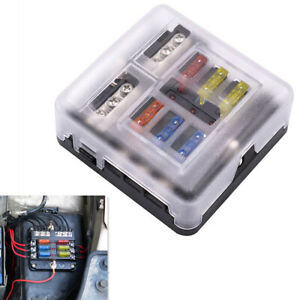 6 Way Blade Fuse Holder Fuse Box Block Case with Stickers Car Truck Boat Marine