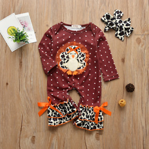 NEW Thanksgiving Turkey Baby Girl Leopard Print Ruffle Romper Jumpsuit