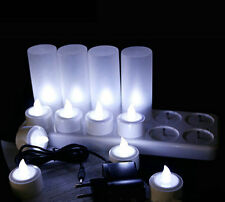 Set of 12 rechargeable tea light candle lamp waxless for Wedding/home/ bar-White