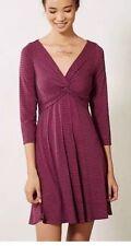 Anthropologie Lilka Torsade Purple Gray Jersey Striped Dress XS