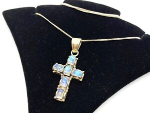 Vintage Sterling Silver Blue Flash Moonstone Cross Pendant Necklace