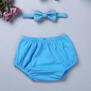 Infant Baby Boys Outfits First 1st Birthday Diaper Cover Bloomers+Bow Tie Suit