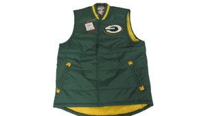 Upside-Down Green Bay Packers Mens Size L Mitchell & Ness Puffy Vest Jacket $110