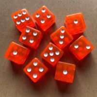 10x Six Sided RED16mm Acrylic Transparent Straight Corner Dice Role Playing Game