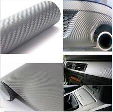 "12""X60"" 3D SilverCarbon Fiber Vinyl Car Wrap Sheet Roll Film Sticker Decal Sales"