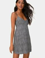 MOTEL ROCKS  Rilia Slip Dress in Ditsy Leopard Grey Small S  (mr92)