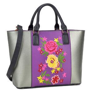Dasein Medium Purple Classic Tote Bag Satchel Carry All Handbag