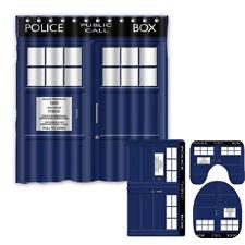 Doctor Who 4PCS Bathroom Rugs Set Shower Curtain Bath Mat Toilet Lid Cover