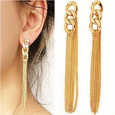 Fashion Womens Gold Plated Dangle Stud Earrings Ear Long Vintage Tassel Jewelry