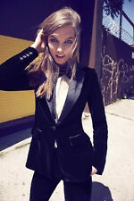 New Women Stylish Party Wear Slim Fit Black Velvet Tuxedo Sports Blazers Jackets