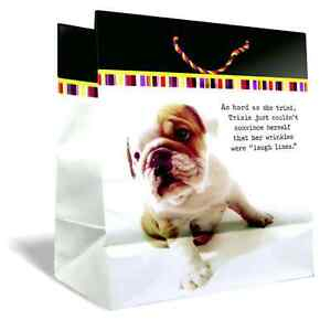 """Large Gift Bag Happy Birthday Cute Puppy """"Wrinkles are Laugh Lines"""" Humor _1304"""