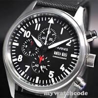 42mm PARNIS black dial week date window quartz Full chronograph mens watch P14