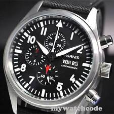 42mm parnis black week date window quartz Full chronograph mens watch 14